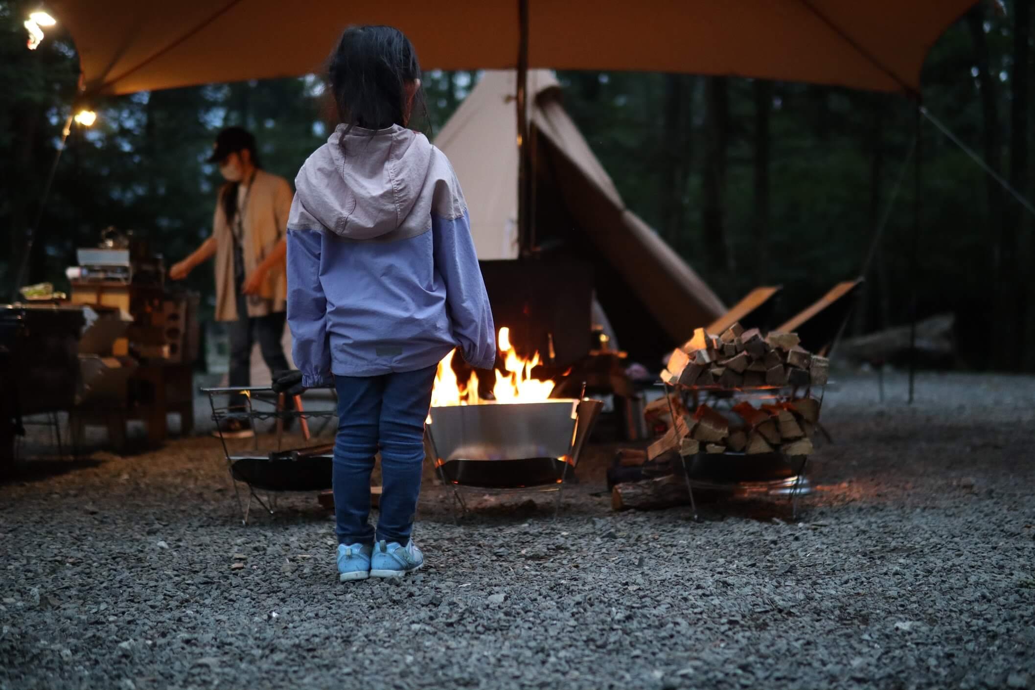 道志 オートキャンプインむじな 焚き火教育