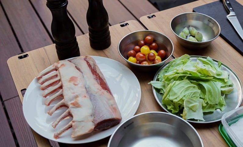 ラム肉の炭火焼 ふきのとうとプチプヨ(とまとの品種)のソース 材料